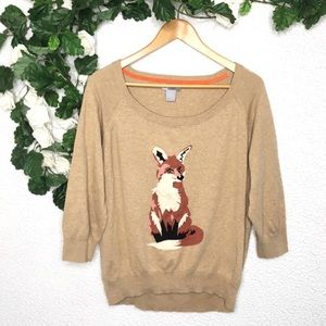 JCP - Fox Knit Pullover Cashmere Blend Sweater